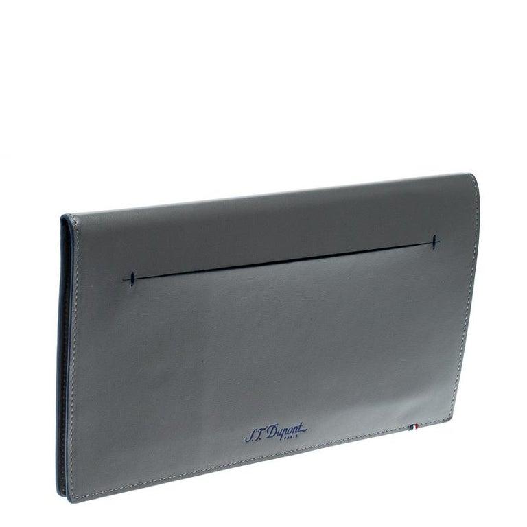 Black S.T. Dupont Grey Leather Plat Slim Organizer For Sale