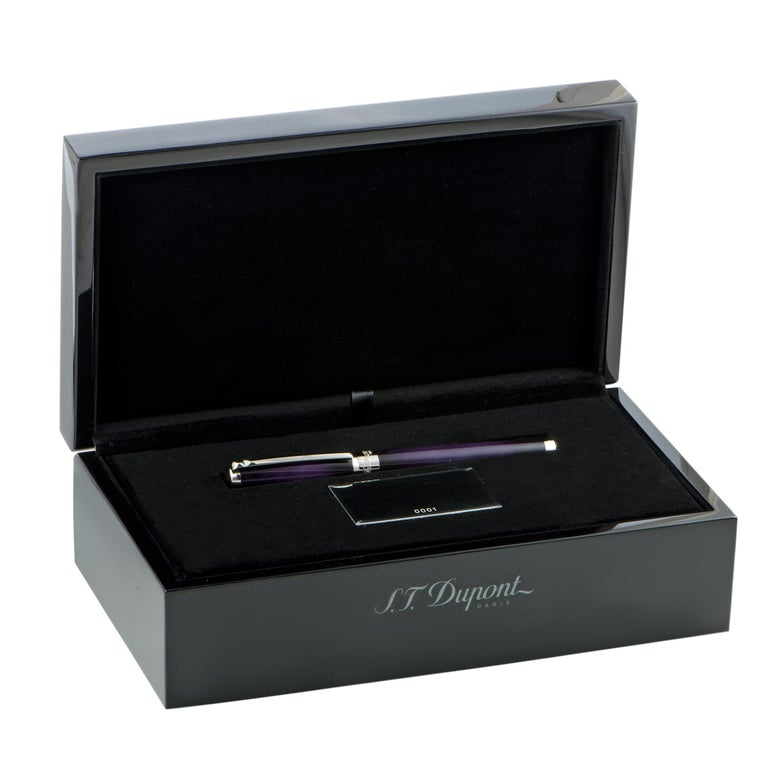 Women's or Men's S.T. Dupont Line D Rollerball Pen in Atelier Eggplant For Sale