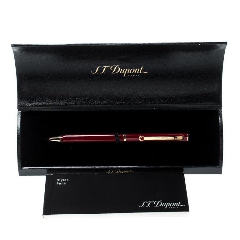 Men's S.T. Dupont Mon Dupont Lotus Red Lacquer Gold Finish Ballpoint Pen For Sale
