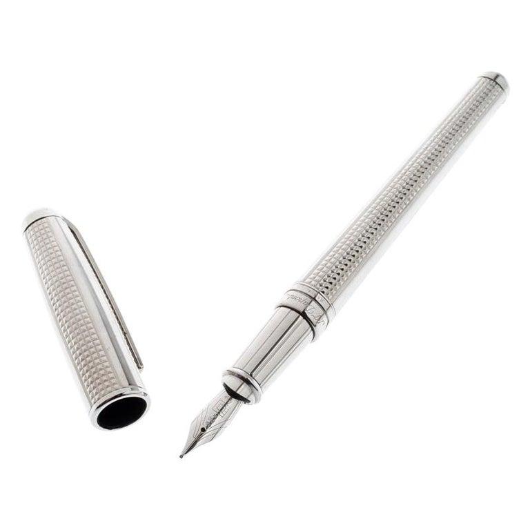 S.T. Dupont Olympio Textured Palladium Finish Fountain Pen For Sale