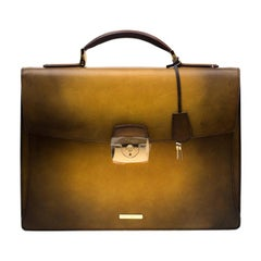 S.T. Dupont Yellow/Black Ombre Leather Atelier Line D One Gusset Briefcase