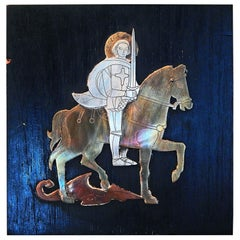 """""""St. George & the Dragon,"""" Rare, Exceptional Midcentury Silver Relief Sculpture"""