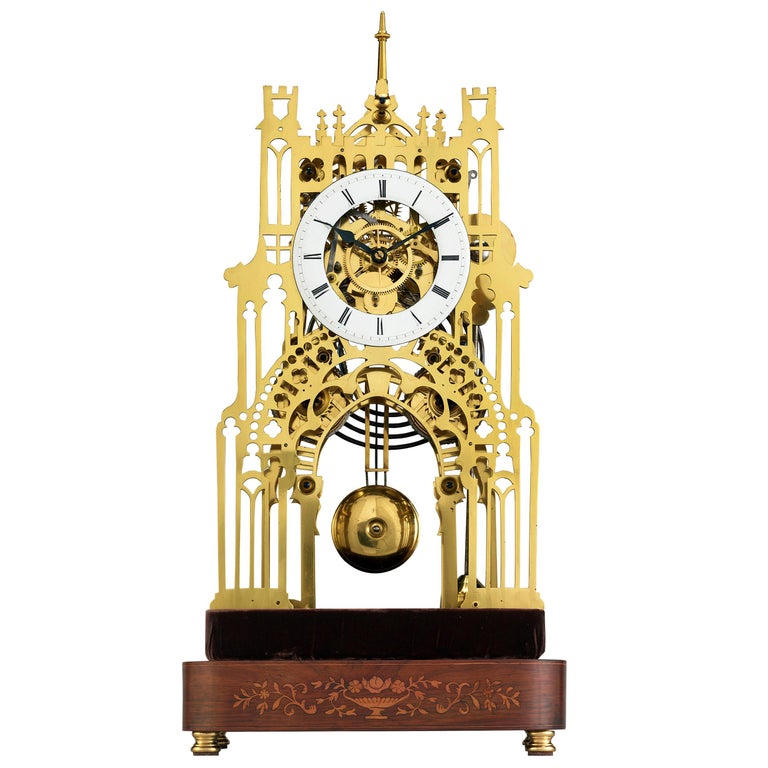 St. James Palace Skeleton Clock by Evans of Handsworth For Sale