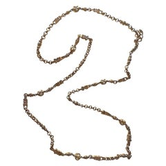 """St. John 48"""" Long Gold Chain & Pearl Cabochon Necklace"""
