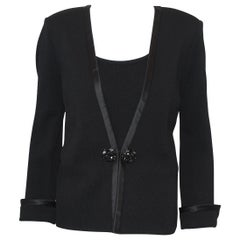 St. John Black Knit Jacket & Camisole Tuxedo Style W Satin Trim on Cuffs & Front
