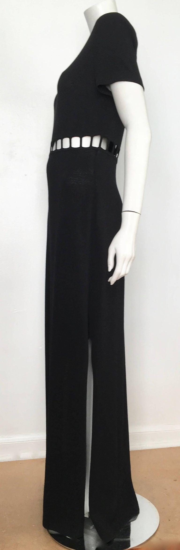 b00679ccf459 St. John Black Knit Short Sleeve Maxi Evening Dress Size 10. For Sale 10