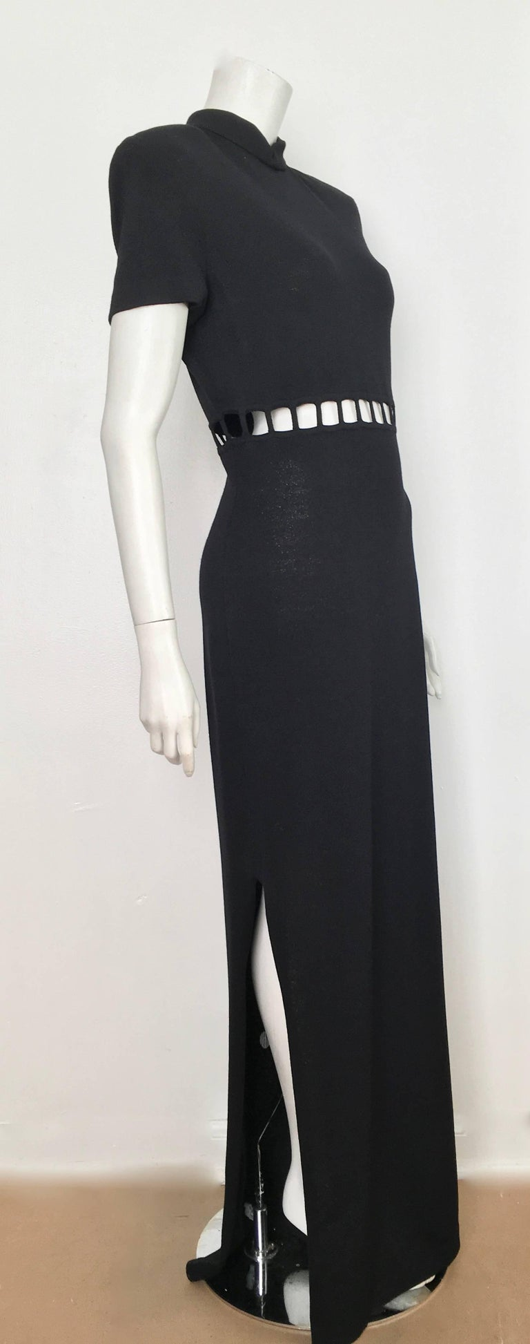 96611311f9b8 St. John Black Knit Short Sleeve Maxi Evening Dress Size 10. For ...