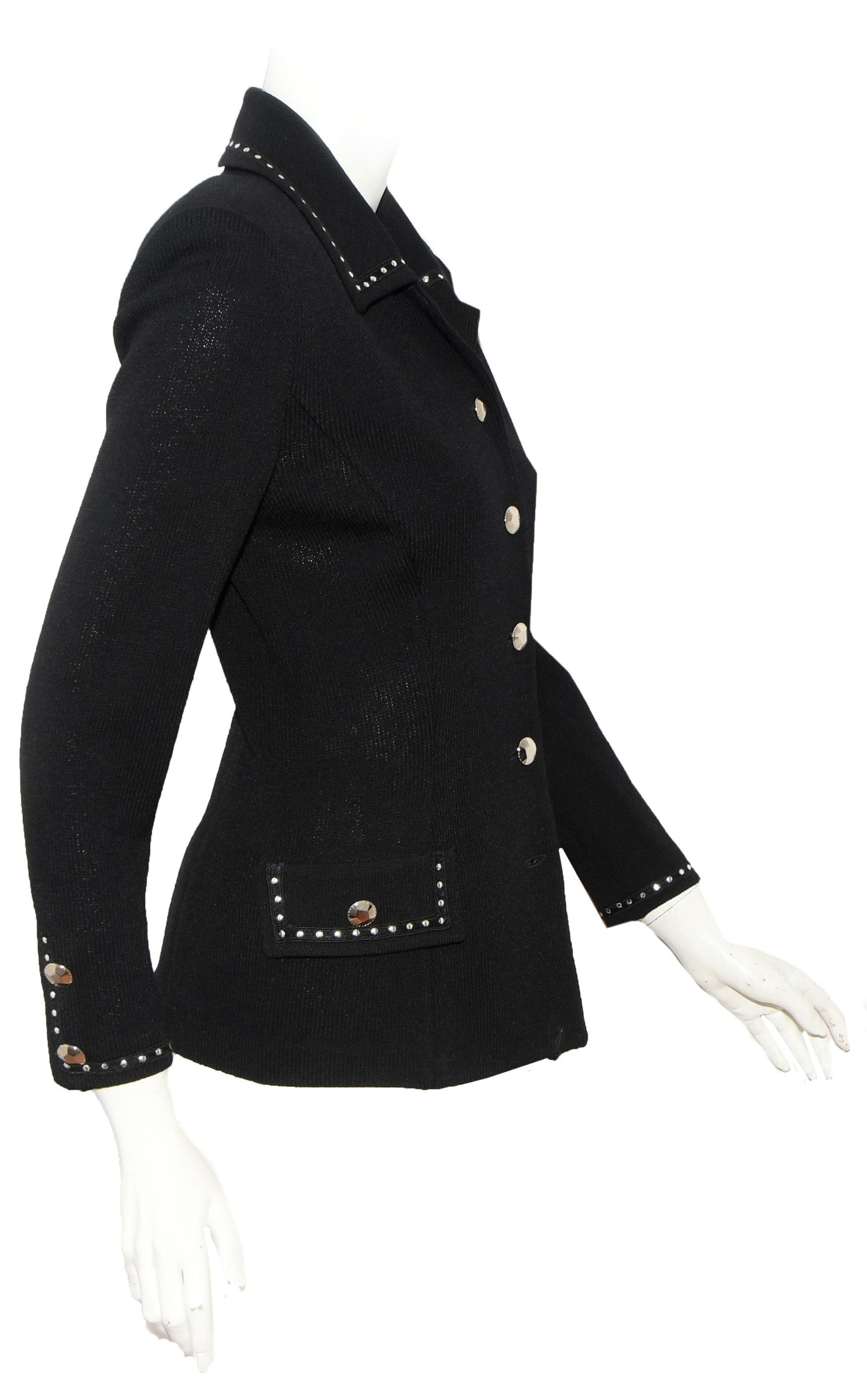 f44b0f4ed St. John Black Knit Silver Tone Stud Decorated Collar Jacket For Sale at  1stdibs
