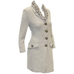 St. John Black & White Long Jacket with Looped Fringe Collar