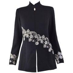 St John Black Wool Viscose Knit Embellished Crystal Evening Jacket