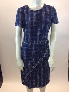 St. John Blue and White Plaid Dress