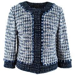 St John Blue & White Tweed Cropped Jacket - Size US 6