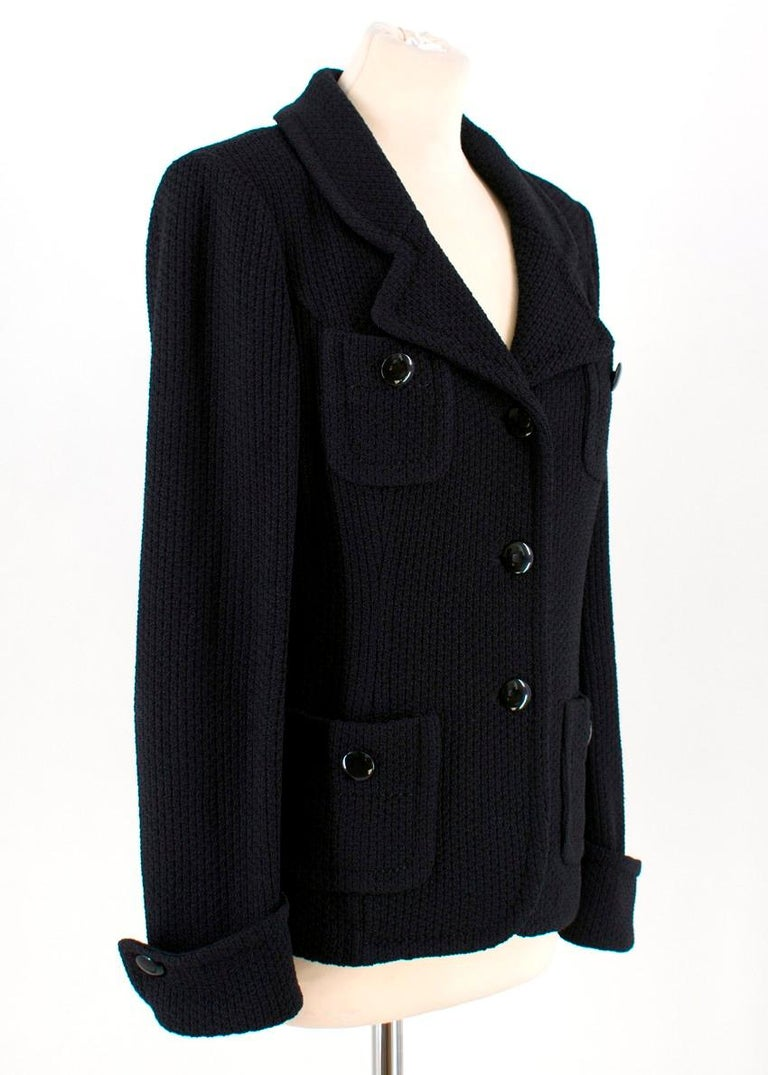 ad20db8a2 St John Black Wool Jacket - Black wool unlined jacket - Turned up cuffs -  Four
