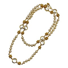 """St. John Collection 44"""" Gold, Pearl & Faceted Crystal Long Necklace, 1990s"""