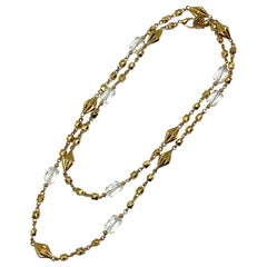 """St John Collection 46"""" Gold with Faceted Crystal Long Necklace, 1990s"""