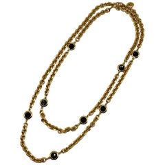 """St John Collection 48"""" Gold Chain with Black Crystal Long Necklace, 1990s"""