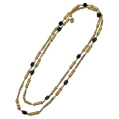 """St. John Collection 53"""" Gold Chain with Black Glass Long Necklace, 1990s"""