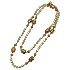 """St. John Collection 53"""" Long Gold & Pearl Necklace, 1990s"""