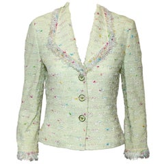 St. John Collection Mint Green Tweed Fringe Jacket