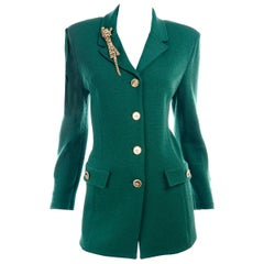 St John Collection Vintage Green Santana Knit Button Front Jacket W Tiger Brooch