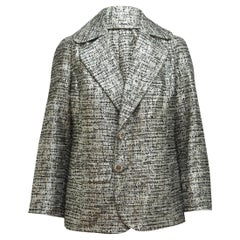 St. John Couture Metallic Silver Tweed Blazer