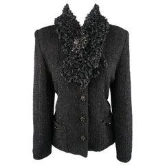 ST. JOHN COUTURE Size 10 Black Tinsel Tweed Scarf Collar Jacket