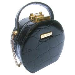 St John Embossed Black Vinyl Diminutive Size Handbag- Shoulder Bag c 1990