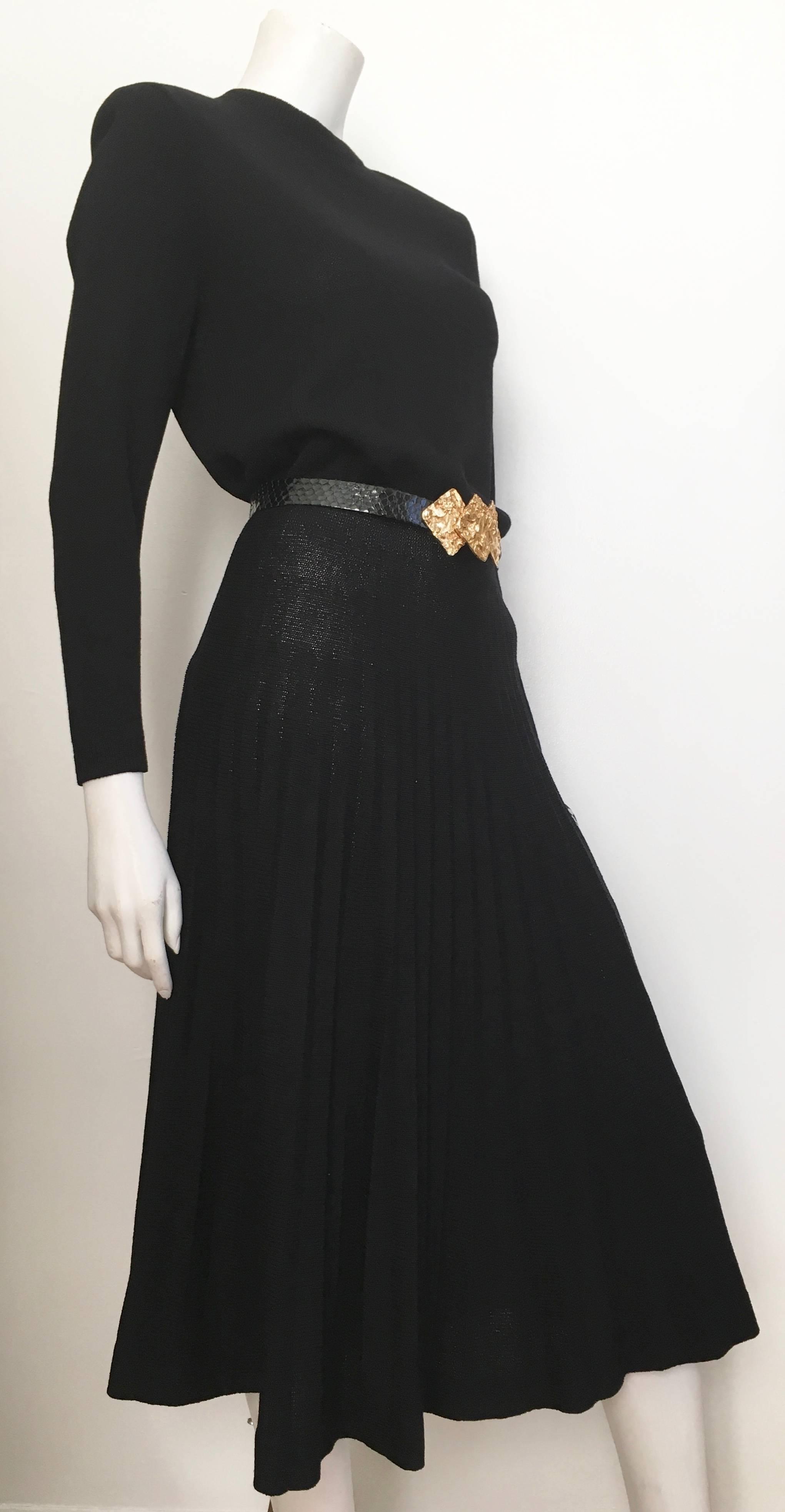 St. John for Neiman Marcus 1980s Black Pleated Knit Dress Size 4 / 6 ...