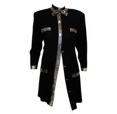 St. John Long Black Jacket W/ Silver Rectangular Sequin & Silver Studs Accents