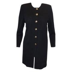 St. John Marie Gray Long Black Jacket W/Gold Tone Emblem Buttons