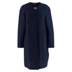 St. John navy tweed-knit collarless jacket  SIZE 6
