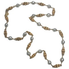 "St John Necklace 43"" Gold Link & Baroque Pearl Necklace"