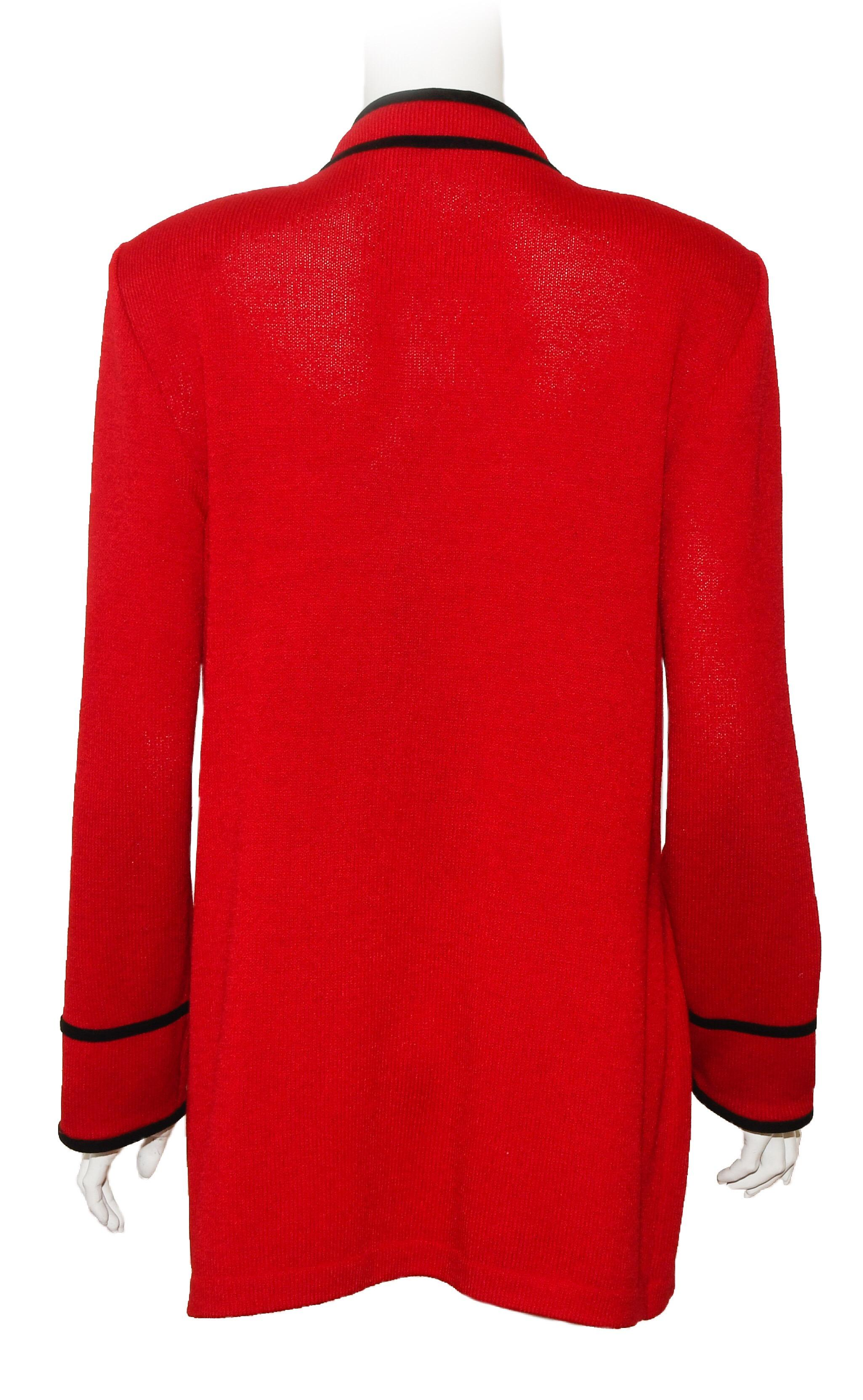 2ffebdd1a St. John Red Long Knit Jacket For Sale at 1stdibs