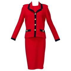 St John Red Nautical Dress, Jacket and Belt with Navy Trim - US 6, 1990s