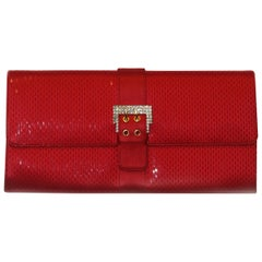 St John Red Sequined Satin Clutch W/ Crystal Buckle At Closure