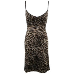 ST. JOHN Size 10 Black & Gold Leopard Sparkle Knit Camisole Dress