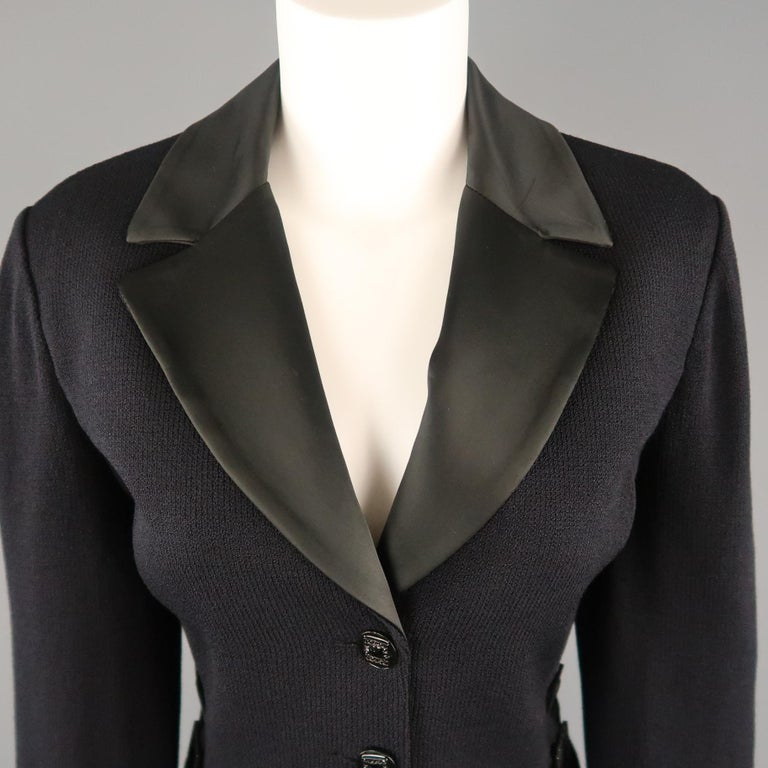 9c686132f ... Rhinestone Buckle Jacket For Sale. Vintage ST. JOHN EVENING jacket  comes in navy knit with a black satin lapel