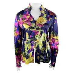 ST. JOHN Size 12 Purple MultiColor Floral Silk Rufle Blouse