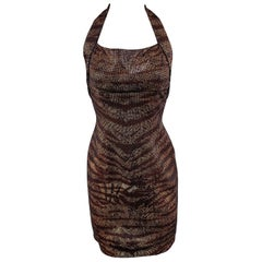 1448e618073 JOHN Size 2 Black Knit Tiger Print Sequin Overlay Halter Dress