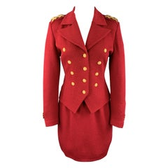 ST. JOHN Size 2 Red Double Breasted Gold Tone Hardware Skirt Suit