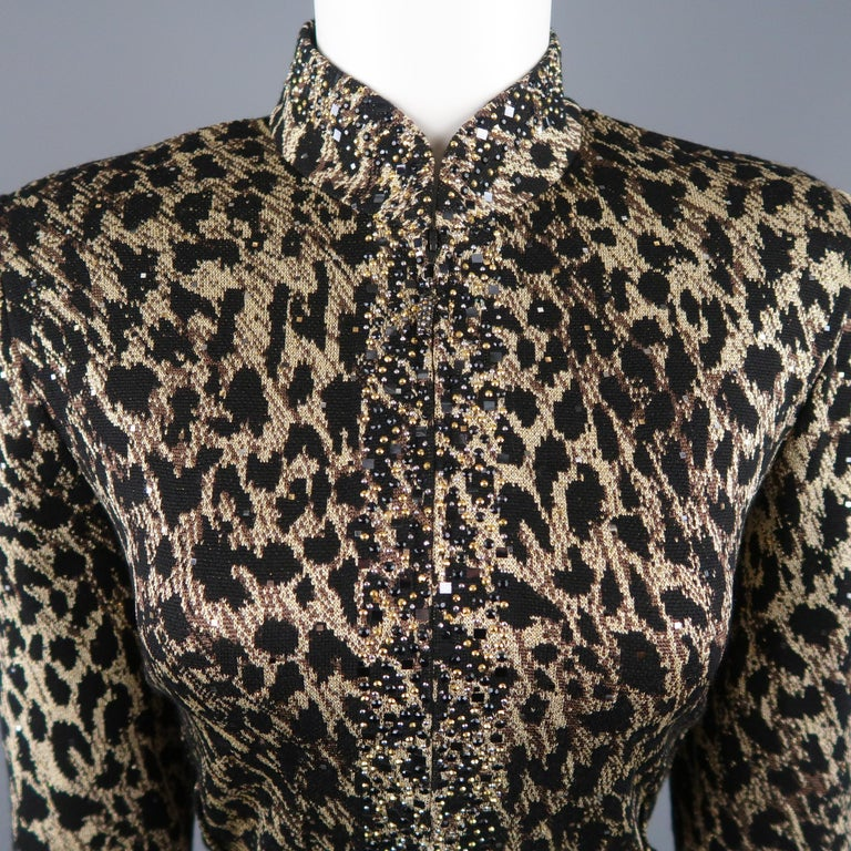 e6206c0b2c4d5 ST. JOHN EVENING jacket comes in black and gold leopard print wool blend sparkle  knit