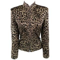 ST. JOHN Size 8 Black & Gold Leopard Sparkle Knit Embellished Jacket