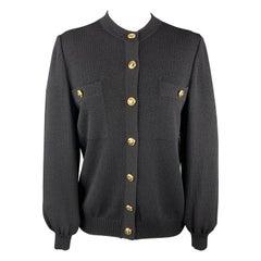ST. JOHN Size M Black Knit Gold Button Cardigan Jacket
