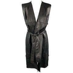 ST. JOHN Size S Black Draped Leather Front Wool Blend Knit Back Vest Coat