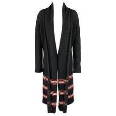 ST. JOHN Size S Black Knit Red Striped Cardigan Coat