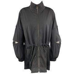 ST. JOHN Size S Black Wool Blend Mesh Panel Drawstring Coat