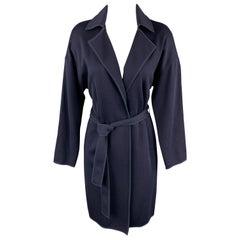 ST. JOHN Size S Navy Wool Blend Extended Cardigan Duster Coat