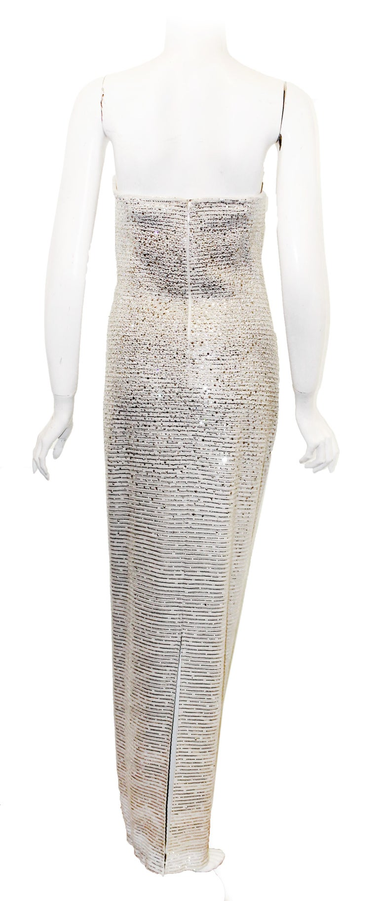 Gray St. John White Lattice Knit Gown W/ Mini Sequins Throughout  For Sale