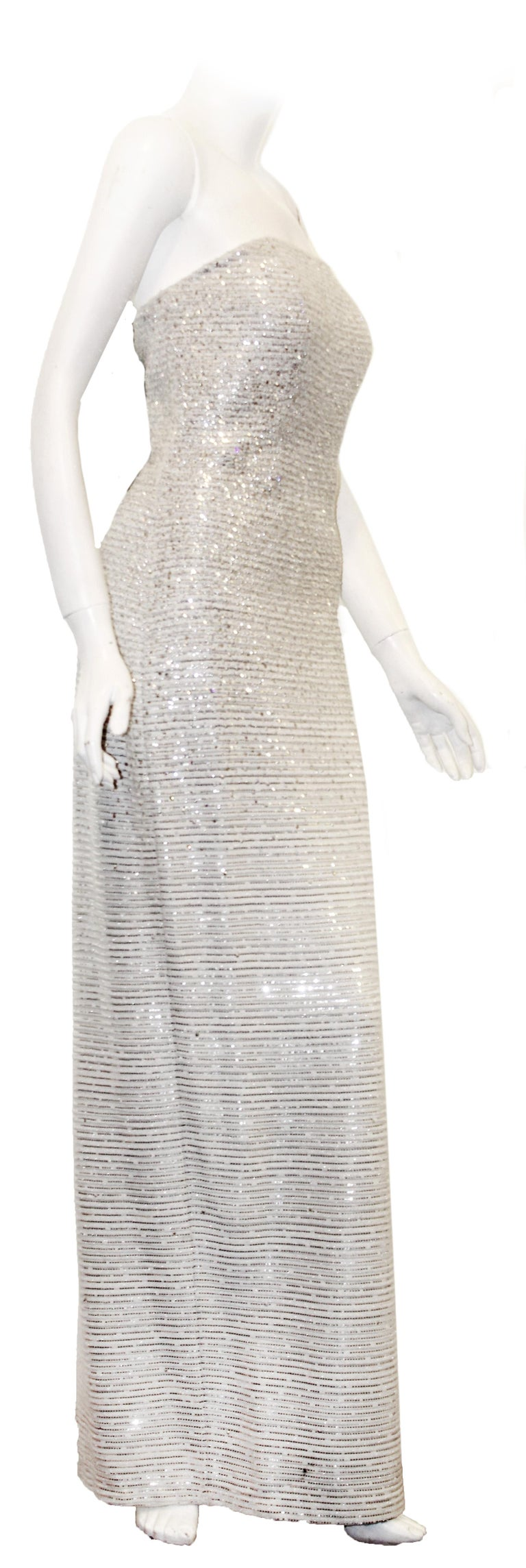 St. John White Lattice Knit Gown W/ Mini Sequins Throughout  In Excellent Condition For Sale In Palm Beach, FL