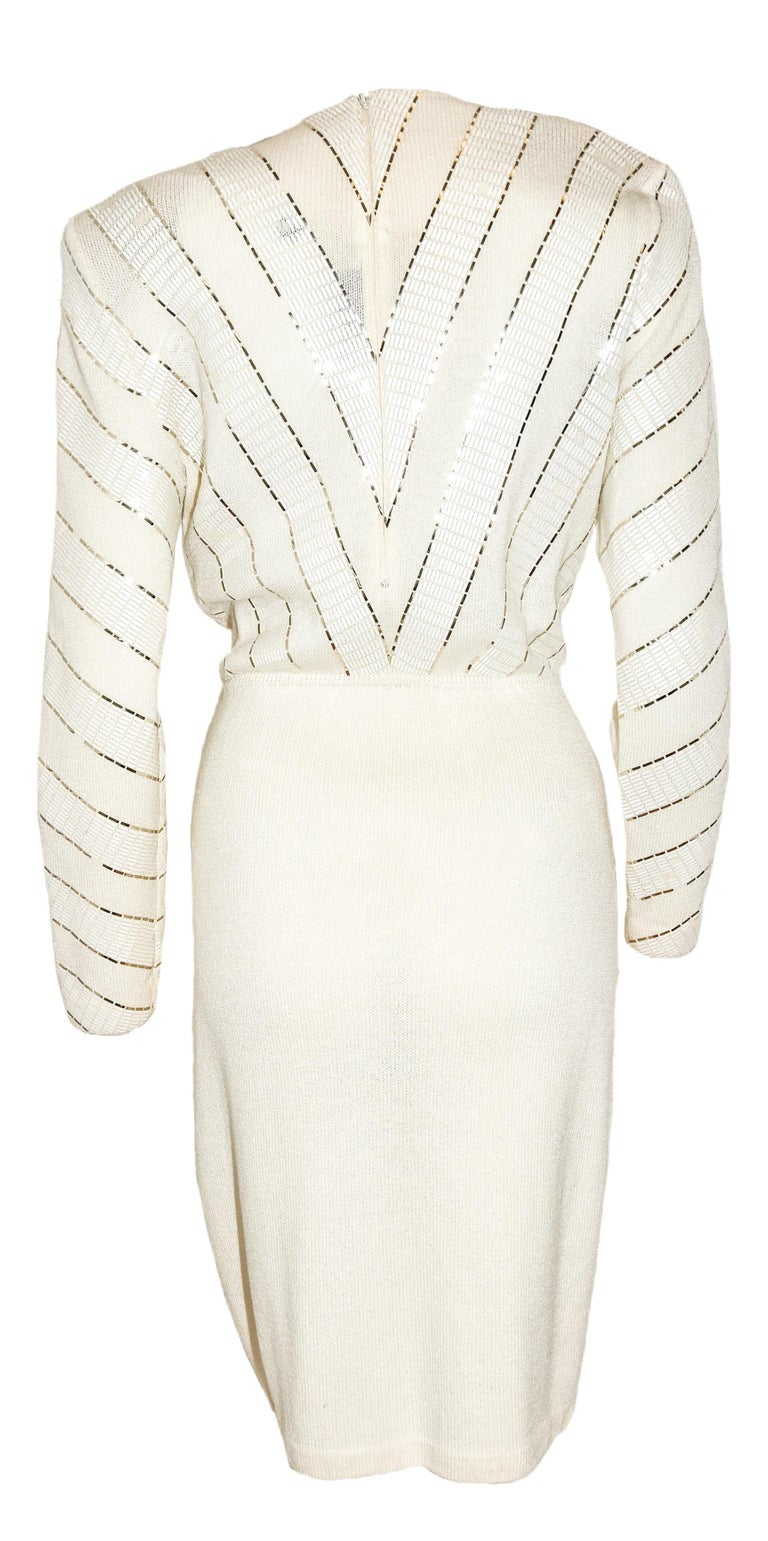 St. John Winter White V Neck Dress With Gold Tone Sequins on Bodice In Excellent Condition For Sale In Palm Beach, FL